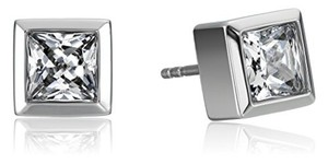 Michael Kors Park Avenue Square Stud Earrings Silvertone