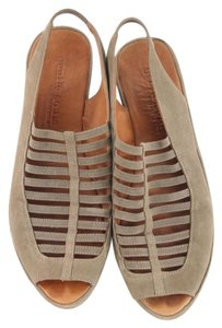 Gentle Souls Taupe Leather Wedge Platforms Sandals