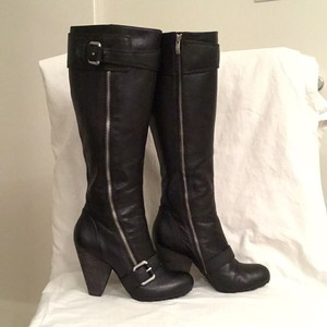 Vince Camuto Leather Knee High Black Boots