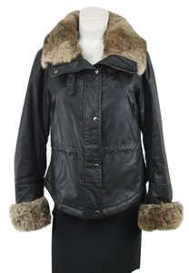 Andrew Marc Faux Fur Leather Black Leather Jacket