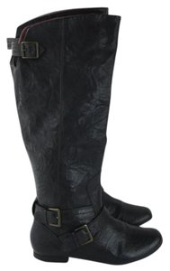 Clarks Black Leather Buckle Knee High Boots