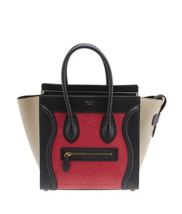 Céline Micro Luggage Color Python Leather Satchel in Red & Grey & Black