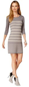 Spense Taupe Sweater Print Dress