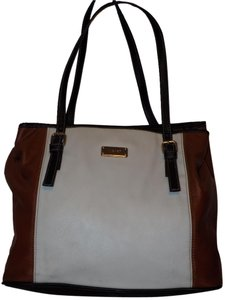 Nine West Leather Color-blocking Tote in White, Brown, & Black
