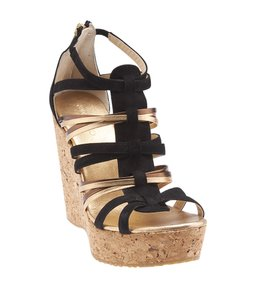 Jimmy Choo Leather Suede Strappy Black,Gold Wedges
