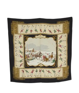 Herms Hermes Les Plaisirs Du Froid Multi-Color Silk Scarf (108700)