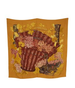 Herms Hermes Vendanges Orange Silk Scarf (108701)