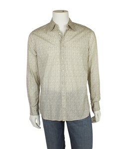 Prada Cotton Button Down Button Down Shirt Brown & Cream