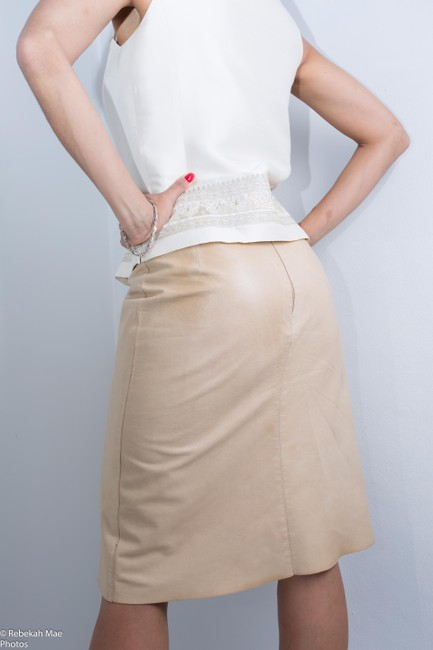 Calvin Klein #leatherskirt Cream Leather Ivory Leather Skirt Cream/Ivory/Off White/ FREE Same Day Ship /