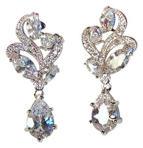 Other CZ Cluster Silver Plated Earrings Pierced