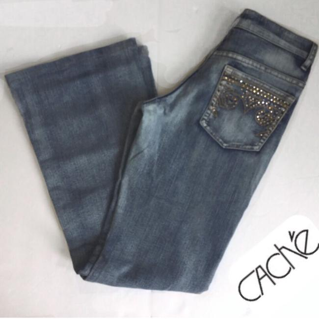 Item - Blue Rhinestone/Embroidered Embellished Boot Cut Jeans Size 24 (0, XS)