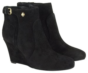 Tory Burch Buckle Detail Upper Black Suede Boots