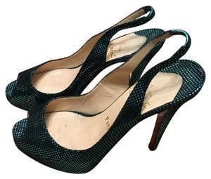 Christian Louboutin Black and teal Pumps