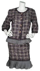 Chanel Chanel Purple Tweed Dress & Jacket Set sz FR48