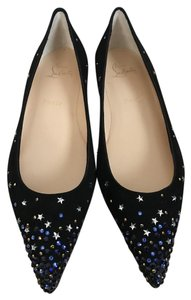 Christian Louboutin Suede Pointed Toe Crystal Black Flats