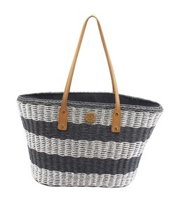 Tory Burch Rattan Striped Tote in Silver,Blue