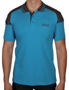 Hugo Boss Logo Cotton Button Down Shirt AQUA BLUE