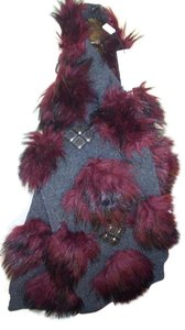 Marc Jacobs Marc Jacobs NWT Eu895 charcoal luxurious wrap with stones and fake fur