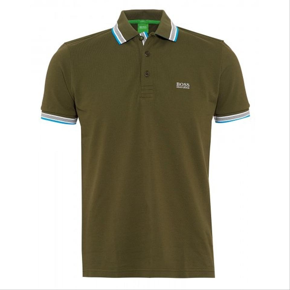 Hugo boss olive polo shirt for men size l button down for Hugo boss formal shirts