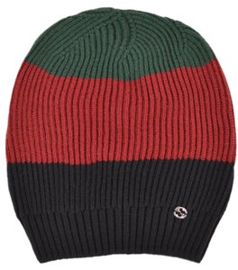 Gucci Gucci Men's 310777 Wool Red Green Black Interlocking GG Slouchy Beanie