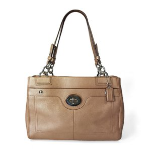 Coach Pebbled Leather Satchel in Metallic Bronze / Gold