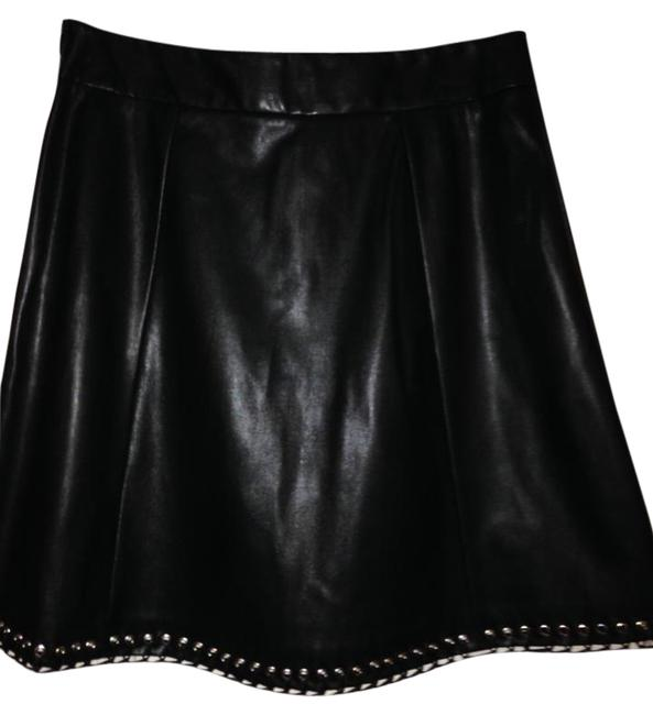 Worthington Grommet Size 10 Skirt Black Faux Leather Image 0