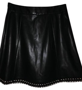 Worthington Grommet Size 10 Skirt Black Faux Leather