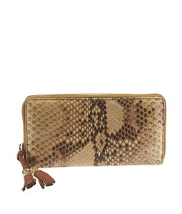 Gucci Gucci Brown Snakeskin Zippered Wallet (108391)