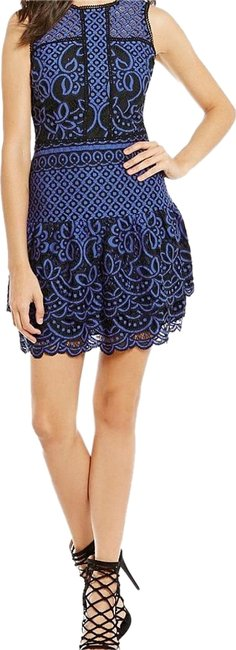 Item - Sapphire Stacey Two Toned Fit and Flare Scalloped Mini Above Knee Night Out Dress Size 4 (S)