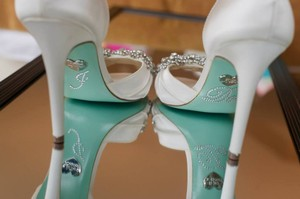 Betsey Johnson Betsey Johnson Ivory Wedding Gown Heels: Peep Tow With Crystal Bow Wedding Shoes