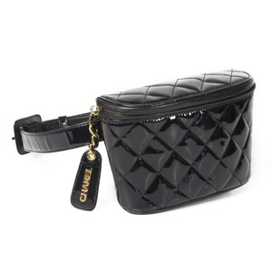 Chanel Fanny Pack Patent Leather Black Travel Bag
