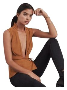 Reformation Cocktail Party Wrap Sexy Top burnt orange
