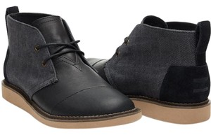 TOMS Leather Chukka Boot Black Boots