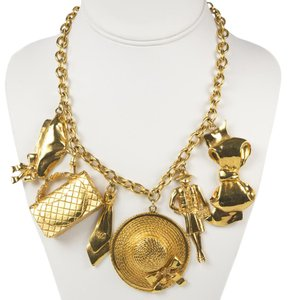 Chanel XL CHARM NECKLACE - GOLD PENDANT BAG HAT BOW CHAIN CHOKER CC LOGO