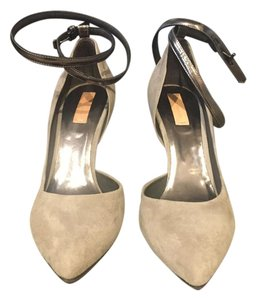 Reed Krakoff Suede D'orsay Ankle Strap light grey Pumps