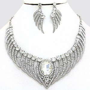 Clear Crystal Bejeweled Stunning Silver Angel Wings Pave and Earring Set Necklace