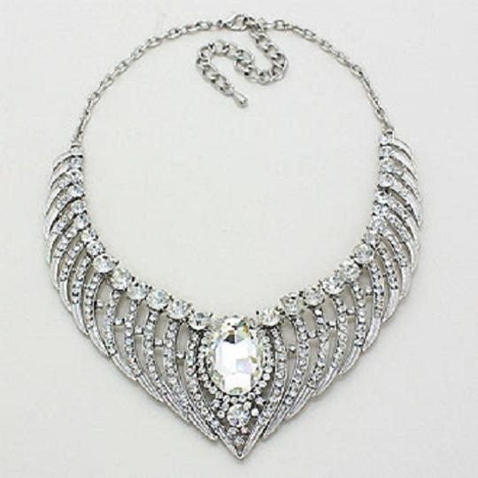 Clear Crystal Bejeweled Stunning Silver Angel Wings Pave and Earring Set Necklace Image 1