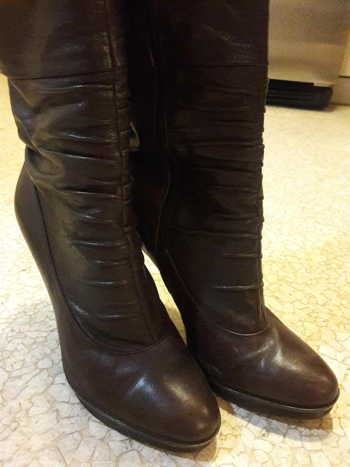 6a2a06adeb2 Calvin Klein Brown Knee-high Leather Boots Booties Size US 9 Regular ...