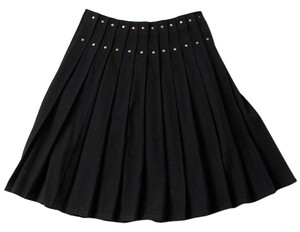 Byblos Wool Pleated Studs Skirt Black
