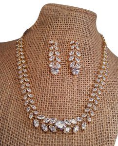 Gold Plated Marquise Cubic Zirconia Necklace Jewelry Set