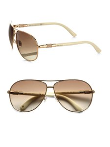 Jimmy Choo NEW Jimmy Choo Walde Swarovski Crystal Gold Aviator Sunglasses