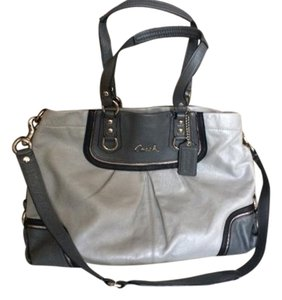 Coach Leather Silver Hardware Satchel in Silver/Grey