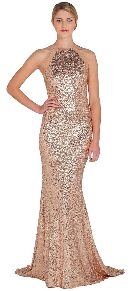 Badgley Mischka Blush Sequin Halter Evening Ball Gown New Long ...