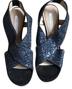 Diane von Furstenberg Navy sequins with black suede stiletto Formal