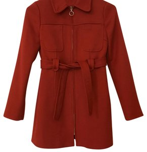 Zara Red Wool Pea Coat