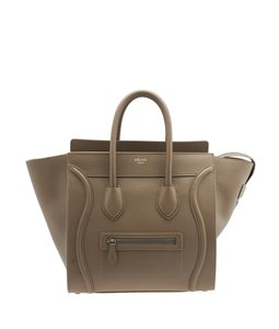 Céline Leather Large Mini Luggage Satchel in Beige