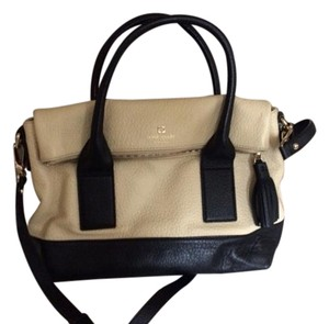 Kate Spade Leather Gold Hardware Two-tone Satchel in Black/Cream