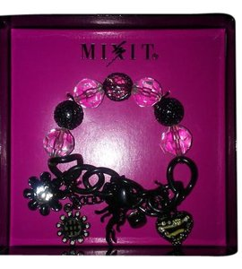 Mixit Black and Charcoal Adjustable Bracelet With Zebra Print Charms
