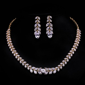 Marquise Gold Plated Cubic Zirconia Necklace Set