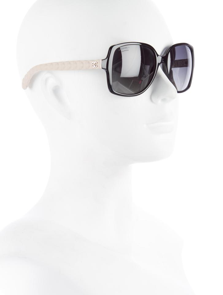 cfdb31c1de070 Chanel Black White 5289 Q Square Cc Logo Quilted Goatskin Leather Polarized  Sunglasses